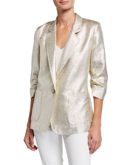 Berek Metallic Push-Up One-Button Blazer