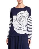 Joan Vass Plus Size Rose Intarsia Striped Sleeve