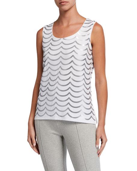 Joan Vass Petite Sequin Wave Cotton Shell