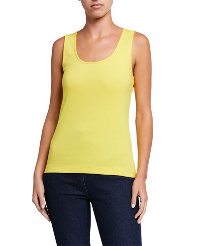 Petite Scoop-Neck Solid Rib Tank