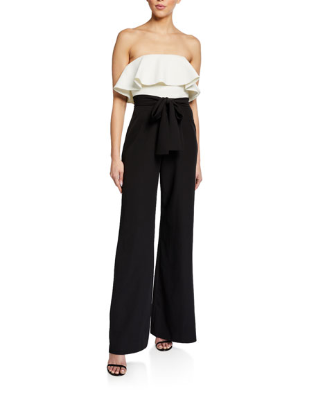 Love, Theia Colorblock Strapless Ruffle Top Wide-Leg Jumpsuit