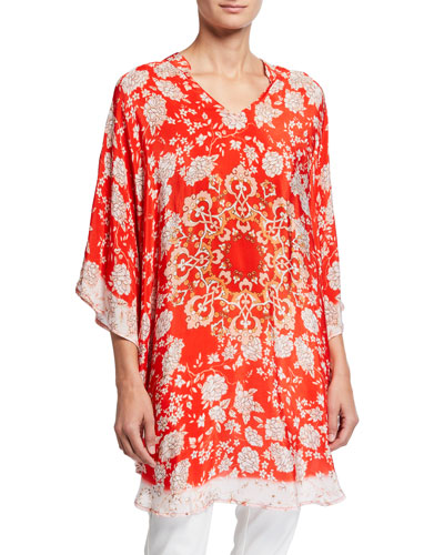 Plus Size Belle Floral Print V-Neck Silk Tunic