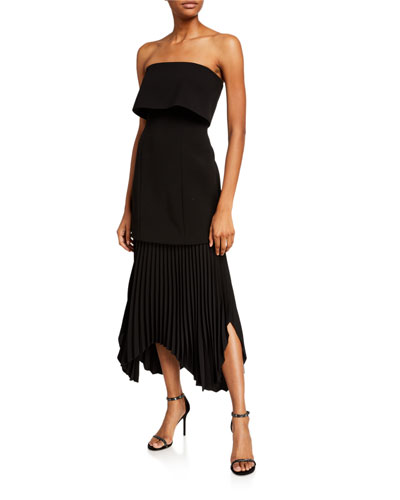 Take Seriously Pleated Strapless Cocktail Dress