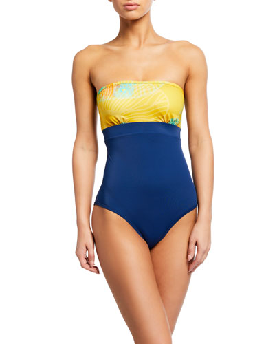 Colorblock Bandeau One-Piece Swimsuit