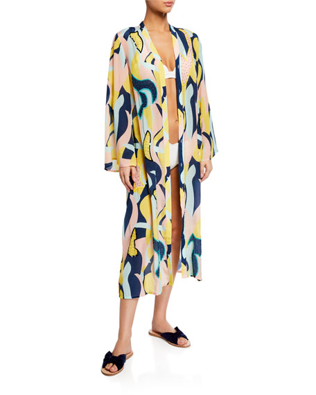 Verandah Printed Handed-Beaded Button-Down Caftan Coverup
