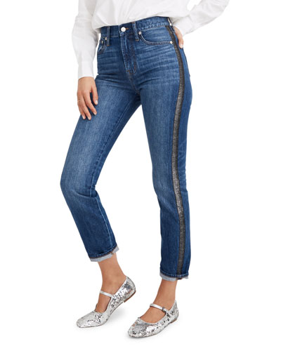 The Perfect Vintage Jeans with Metallic Tuxedo Stripes