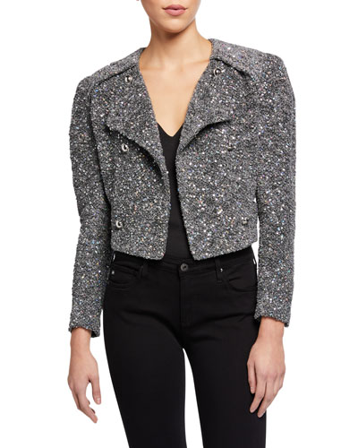 Sorla Sequined Strong-Shoulder Tweed Jacket