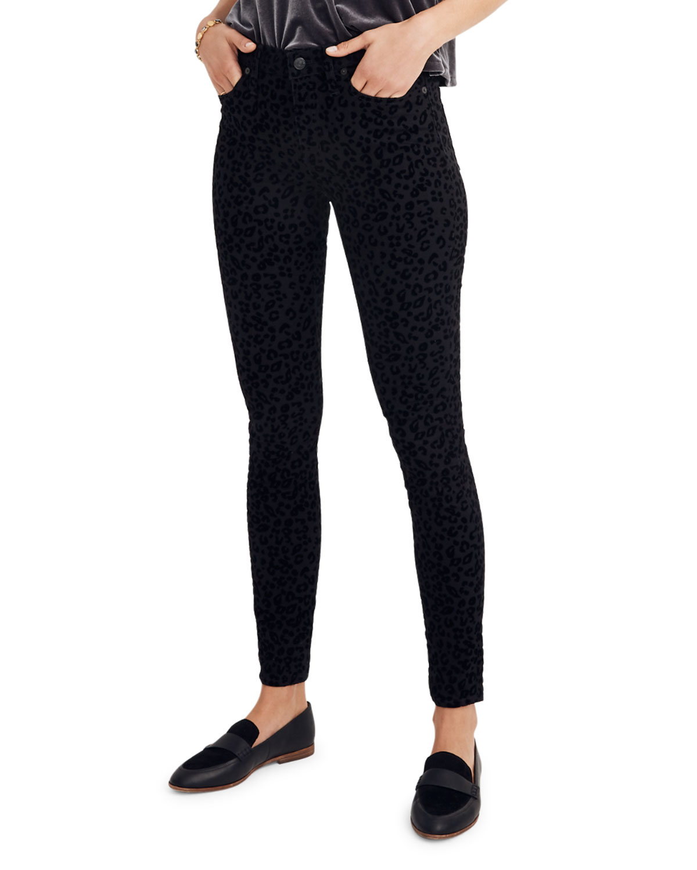 "9"" Mid-Rise Flocked Leopard-Print Skinny Jeans"