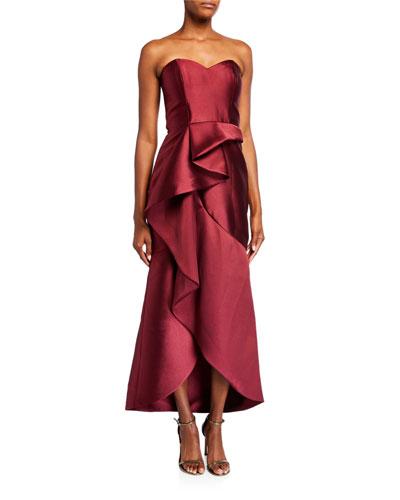 Lulu Strapless Sweetheart High-Low Ruffle Gown