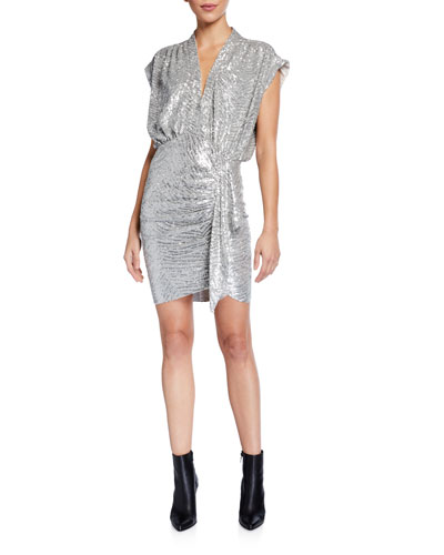 Sagria Draped Metallic Cocktail Dress