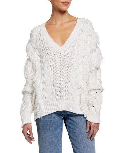 Wynd Fringe Cable-Knit Sweater