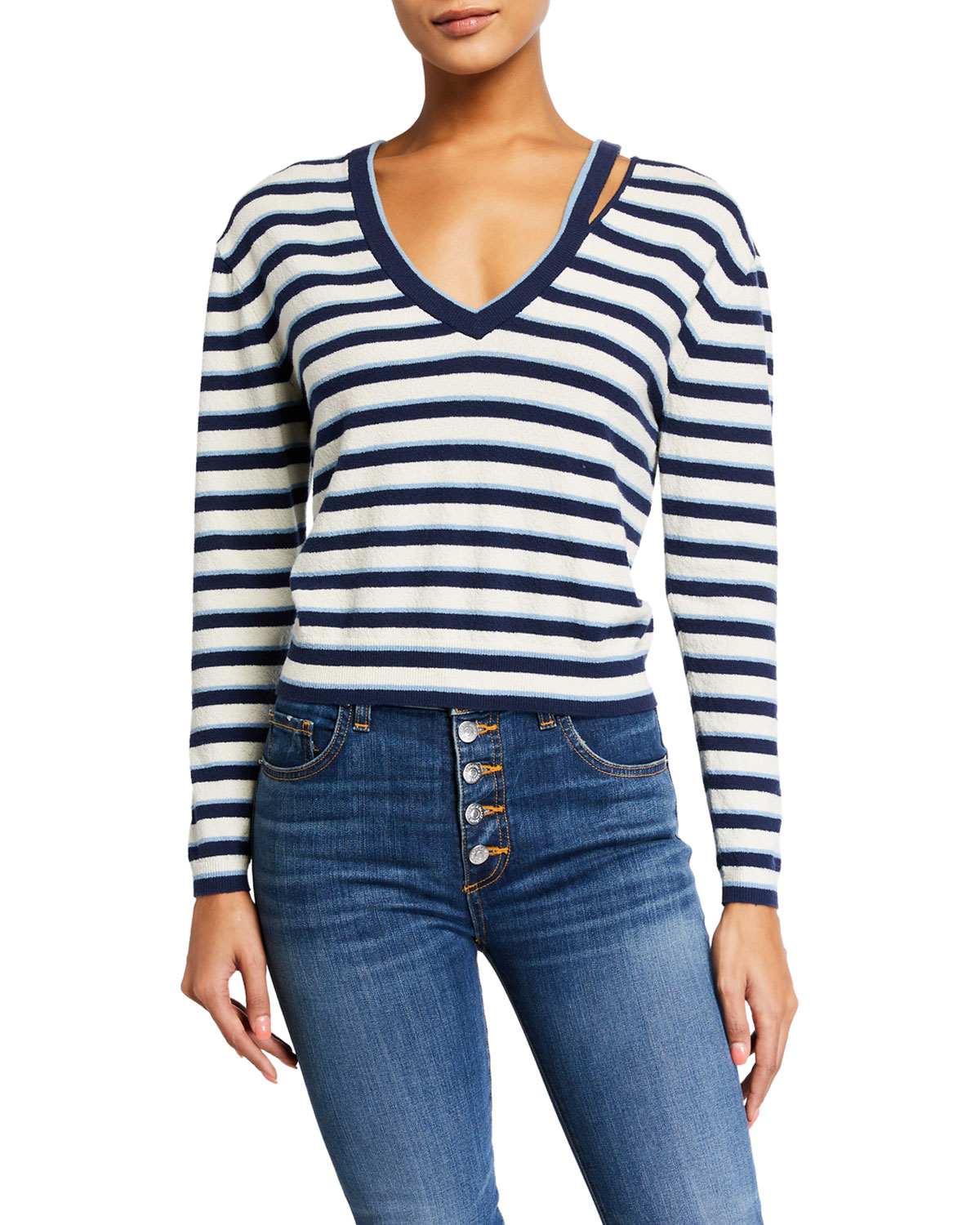 Veronica Beard Sweaters HERBIE SLIT-NECK STRIPED SWEATER
