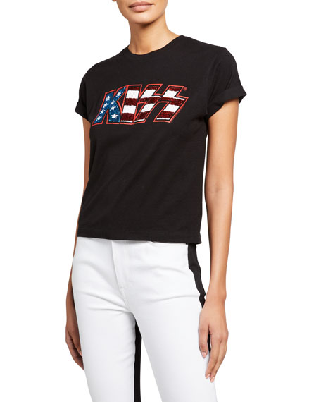 ALICE + OLIVIA JEANS Shira Sequined Roll-Sleeve Tee