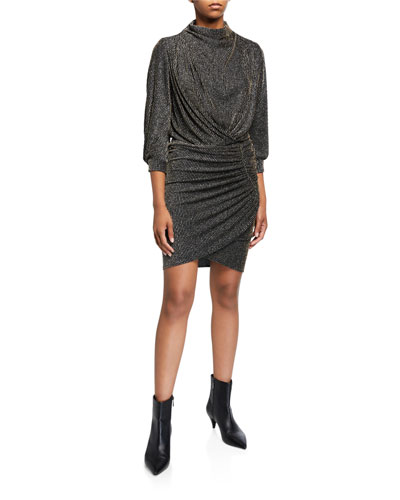 Absalon Metallic Stripe High-Neck Dress