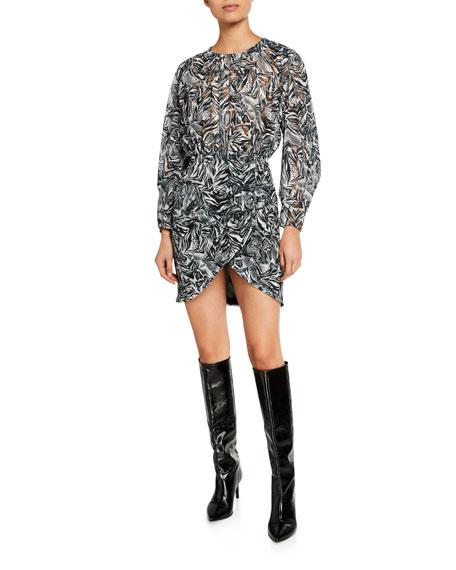 Iro Fenian Printed Long-Sleeve Mini Dress