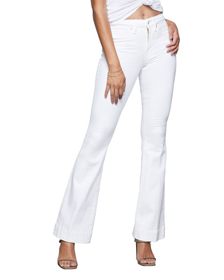 Good American Good Flare High-Rise Jeans with Trouser Hem - Inclusive Sizing