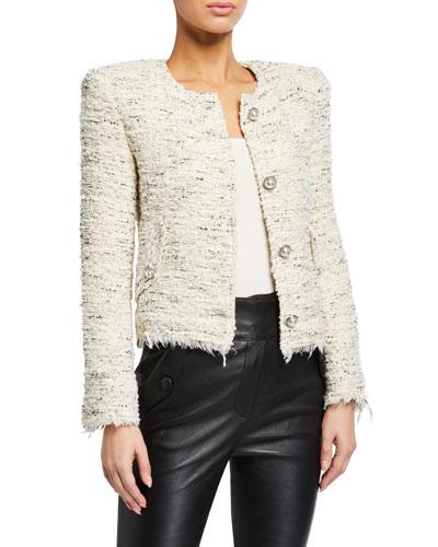 Mercie Strong-Shoulder Tweed Jacket