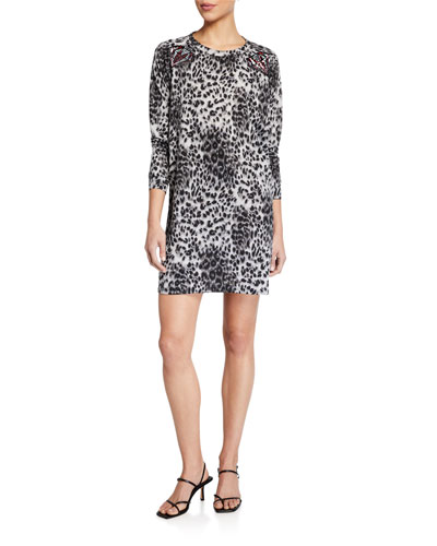 Plus Size Animal Print Long-Sleeve French Terry Shift Dress