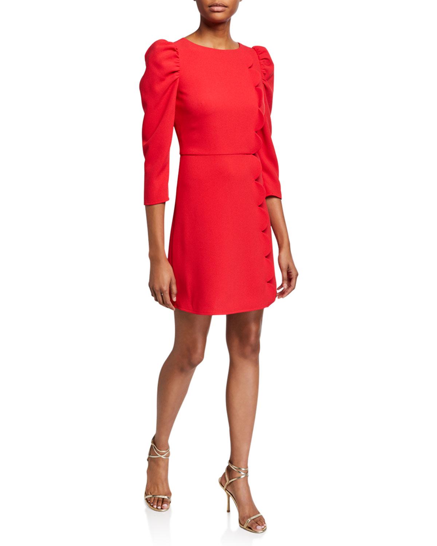 Shoshanna Dresses BRIELLE STRETCH CREPE PUFF-SLEEVE SCALLOP-EDGE DRESS
