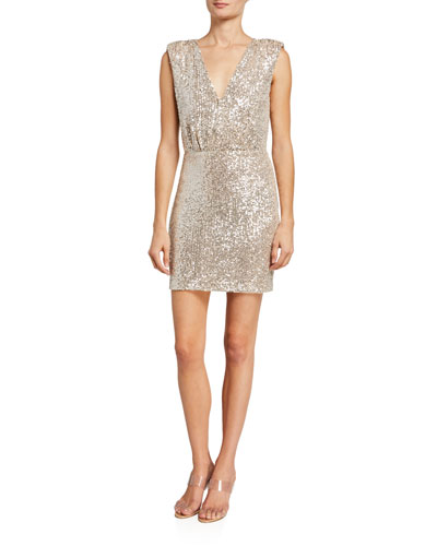 Brienne Sequined Tie-Waist Slit Dress