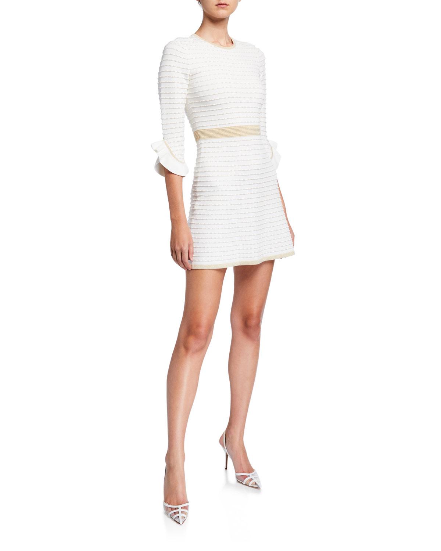 Shoshanna Dresses CLAIRA TEXTURED KNIT MINI DRESS W/ METALLIC TRIM