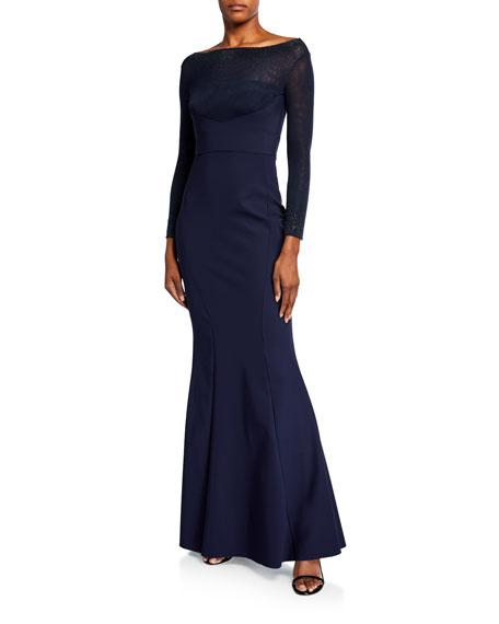 Chiara Boni La Petite Robe Mesh Boat-Neck Long-Sleeve Gown with Beading