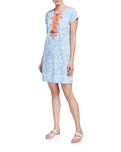 Bandana Cap-Sleeve Tassel-Tie Shift Dress