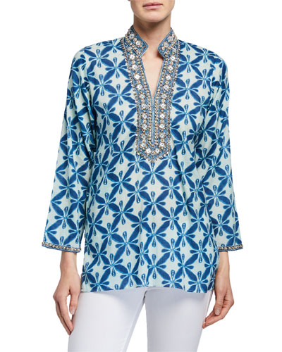 Marni Beaded Neck Long-Sleeve Tunic