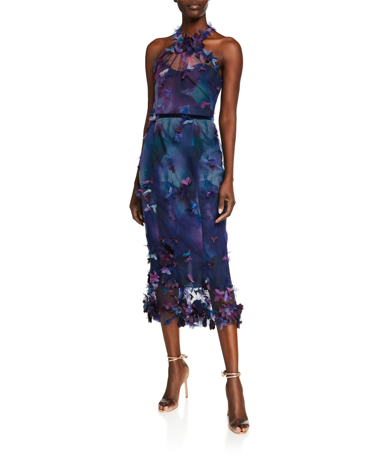 Marchesa Notte PRINTED TULLE HALTER COCKTAIL DRESS WITH 3D FLOWERS