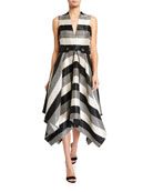 Badgley Mischka Collection Sequin Striped Deep V-Neck Belted