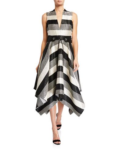Sequin Striped Deep V-Neck Belted Handkerchief Dress