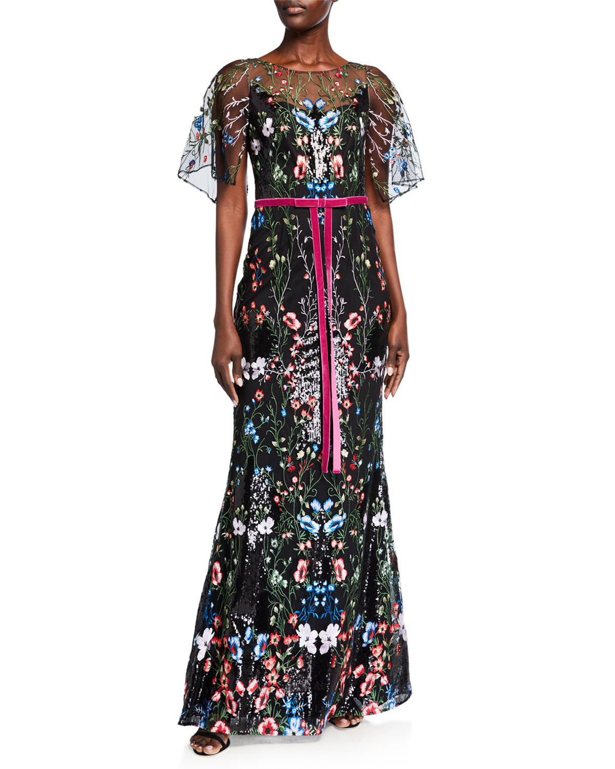 Marchesa Notte CAPE-SLEEVE MULTICOLOR SEQUIN EMBROIDERED GOWN
