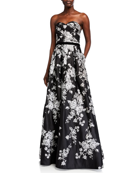 Marchesa Notte Strapless Draped Sweetheart Embroidered Satin Ball Gown