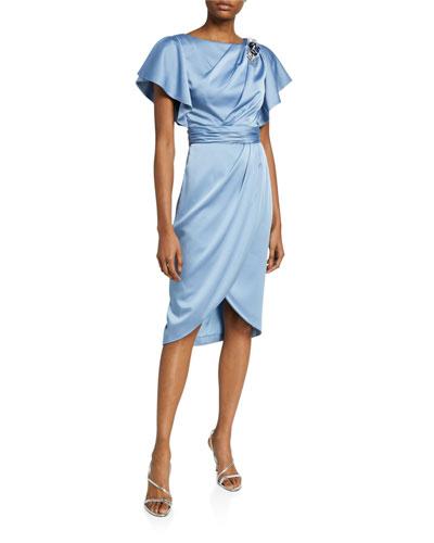 Asymmetrical Drape Charmeuse Dress with Wrap Skirt