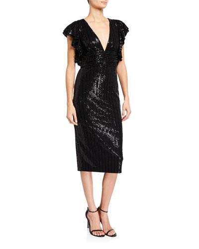 Sequin V-Neck Flutter-Sleeve Cocktail Dress
