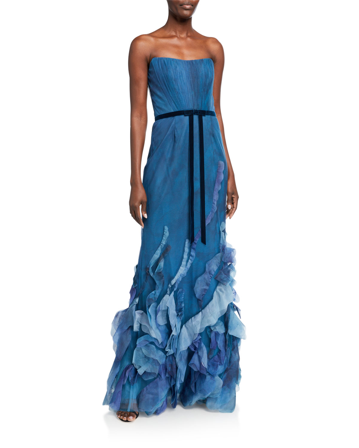 MARCHESA NOTTE STRAPLESS PRINTED TULLE TEXTURED GOWN