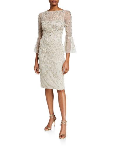 Hand-Beaded & Petal Applique 3/4 Bell-Sleeve Dress