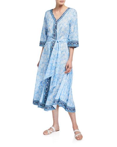 Bandana V-Neck Flutter-Sleeve Belted Dress