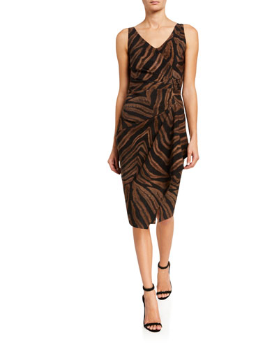 Zebra Striped V-Neck Sleeveless Asymmetric Drape Dress