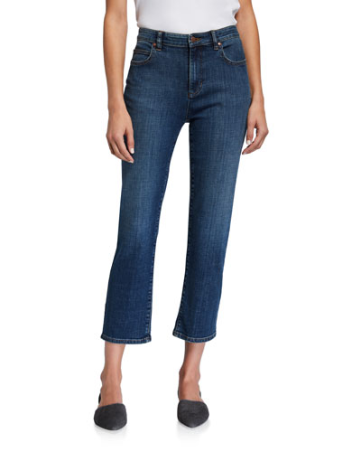 Plus Size Organic Cotton High-Waist Straight-Leg Cropped Jeans