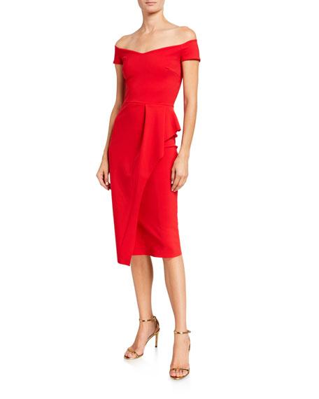 Chiara Boni La Petite Robe Off-Shoulder Cap-Sleeve Apron Skirt Dress