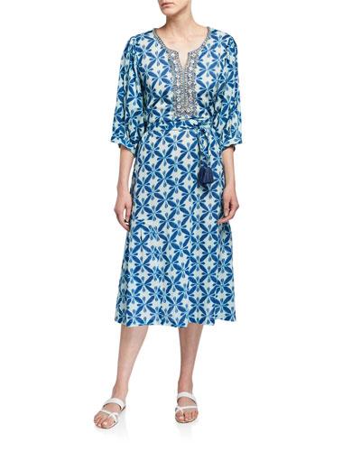 Marni Printed 3/4-Sleeve Midi Dress with Beaded Placket