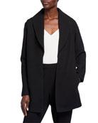 Eileen Fisher Plus Size Basket Weave Shawl-Collar Jacket