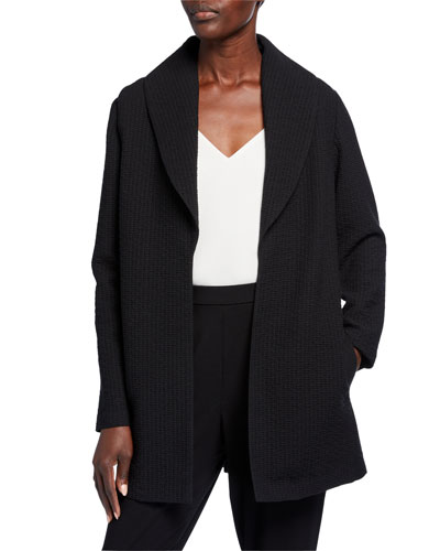 Plus Size Basket Weave Shawl-Collar Jacket