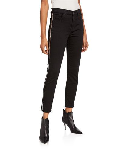 Mid-Rise Ankle Skinny Jeans w/ Snake-Print Stripes