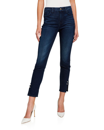 Mid-Rise Cropped Skinny Jeans w/ Pearl Cufflinks