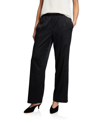 Plus Size Straight-Leg Polyester Satin Pull-On Pants