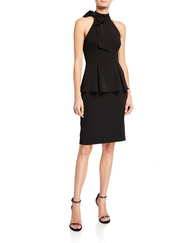 Bow-Neck Crepe Jersey Peplum Halter Dress