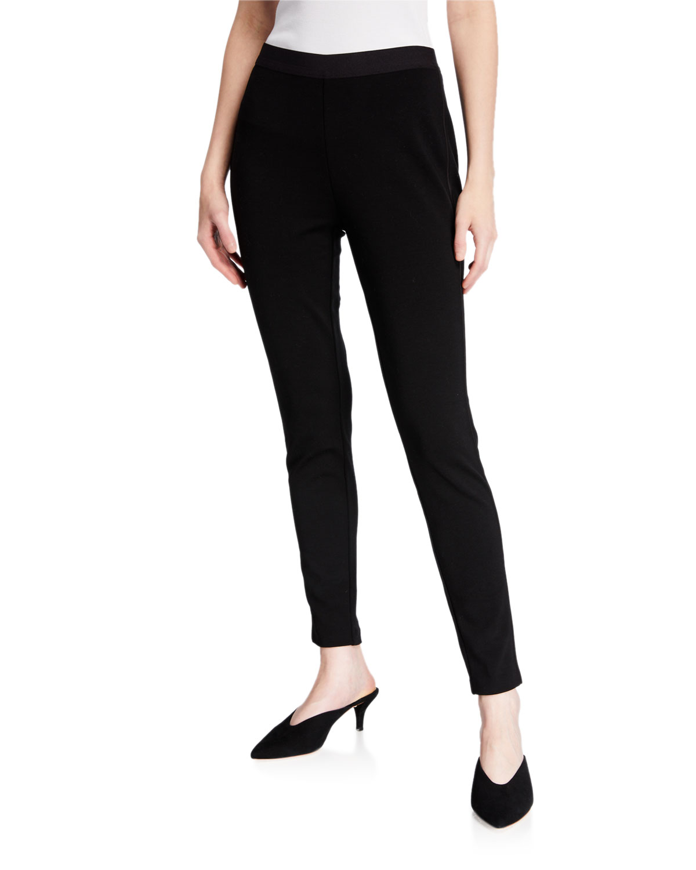 Plus Size Tencel Ponte Satin Side-Trim Leggings