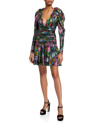 Abigail Dark Floral Metallic Voile V-Neck Ruched-Waist Dress